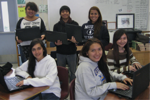 Los Altos High School first generation college-bound AVID students with their computers