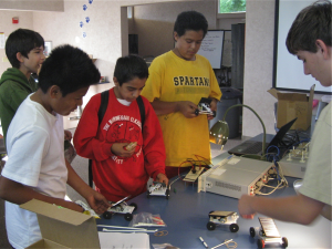 Students use Agilent Science Kits to make solar powered cars