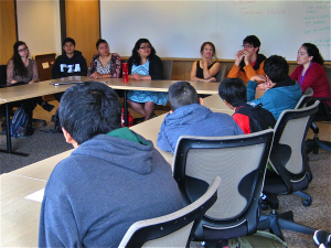 Stanford students talk to middle school students about their college experiences.